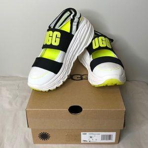 "UGG ""Slingback runner"" neon yellow logo shoe 6"